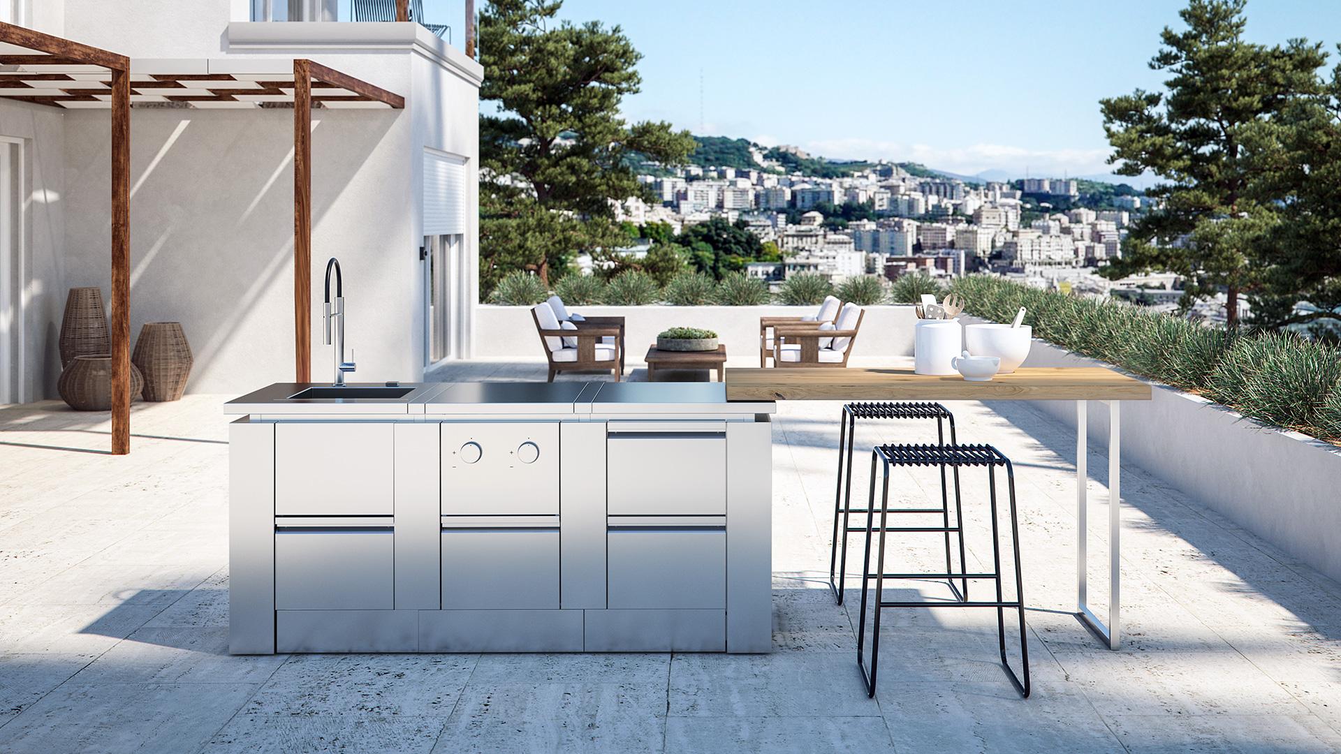 Cucine da esterno cucine da giardino e terrazzo rok - Cucine da esterno in muratura ...