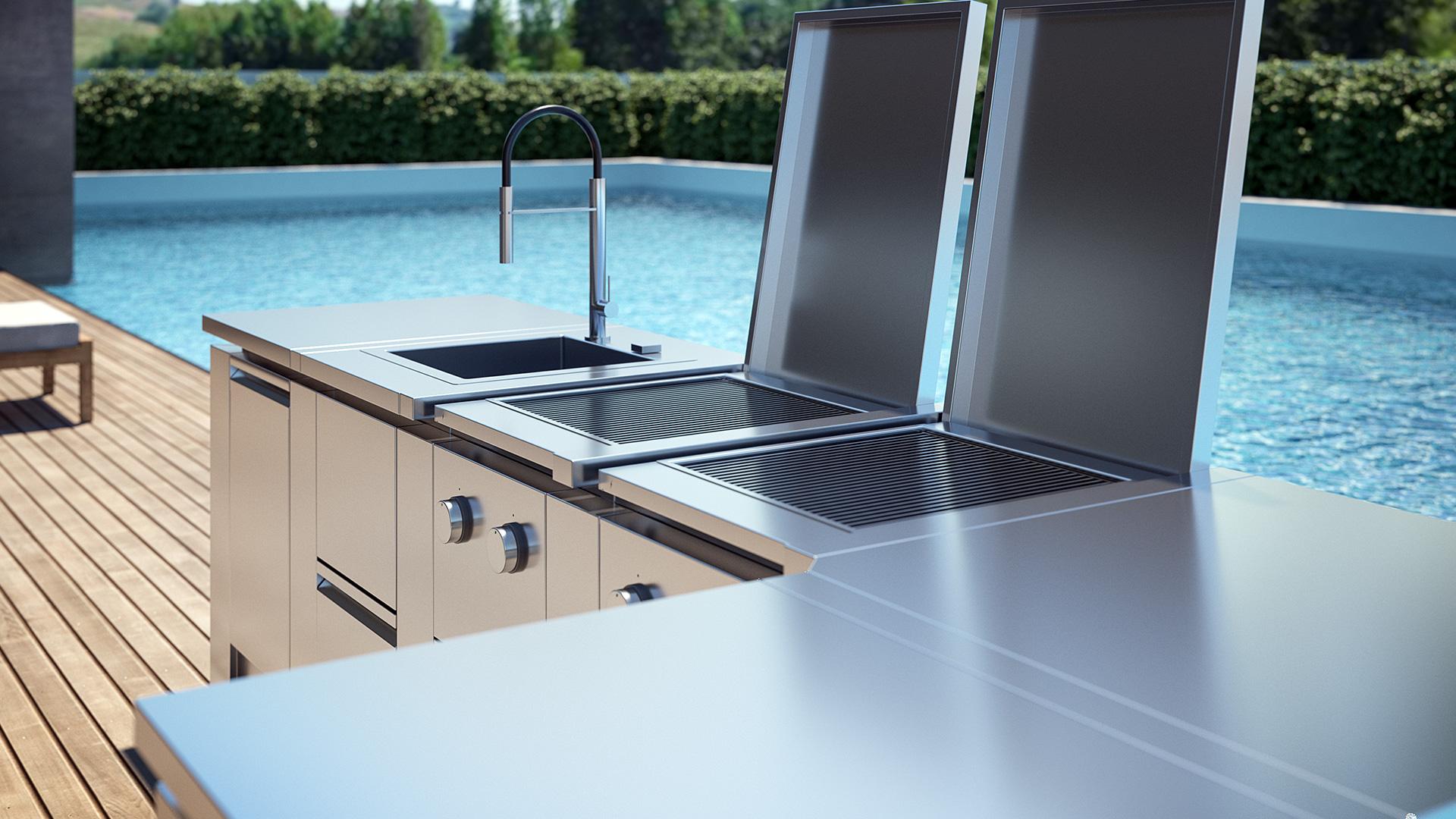 Cucine da esterno cucine da giardino e terrazzo rok for Cucine da esterno prefabbricate